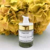 about us Radiant glow illuminating serum with yellow hydrangeas