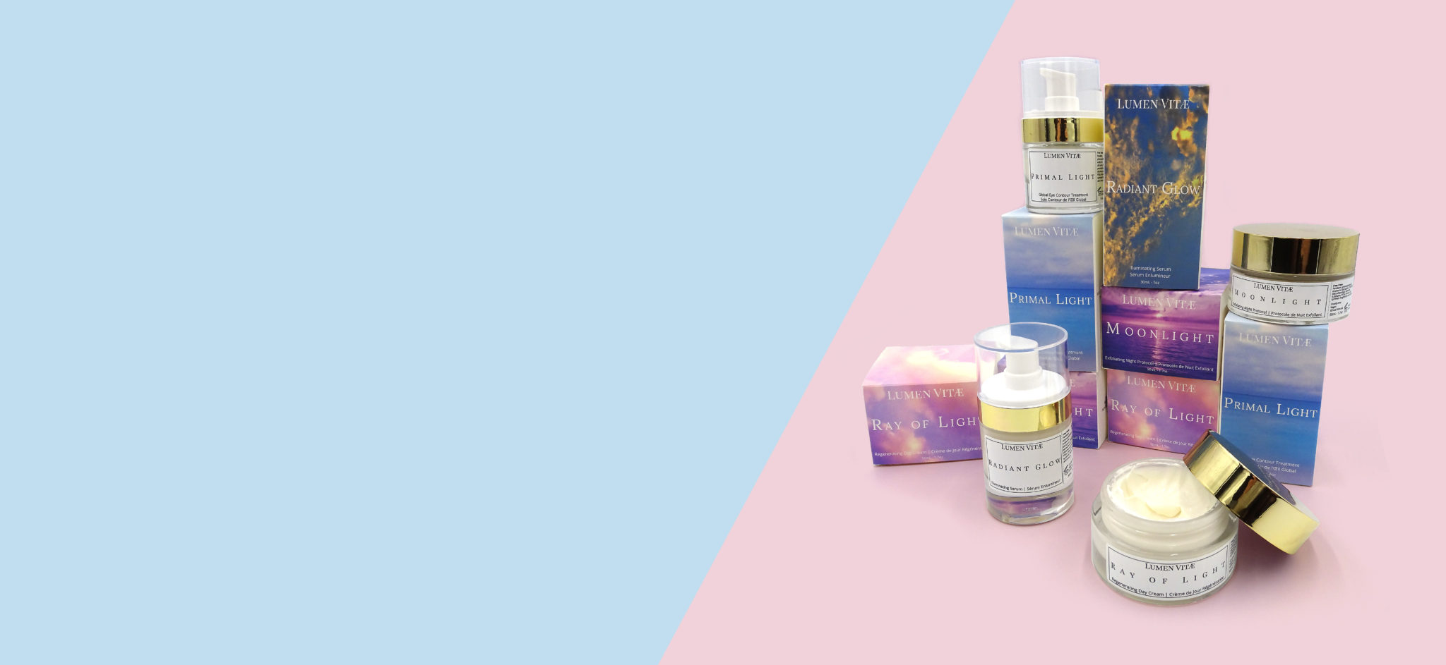 Pink and Blue Lumen Vitae Skincare banner